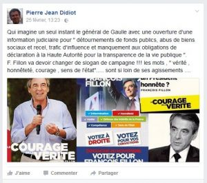 François Fillon sur page FB de Pierre Jean Didiot