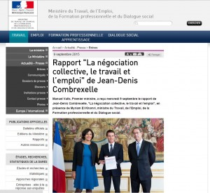 Photo de la remise du rapport Combrexelle