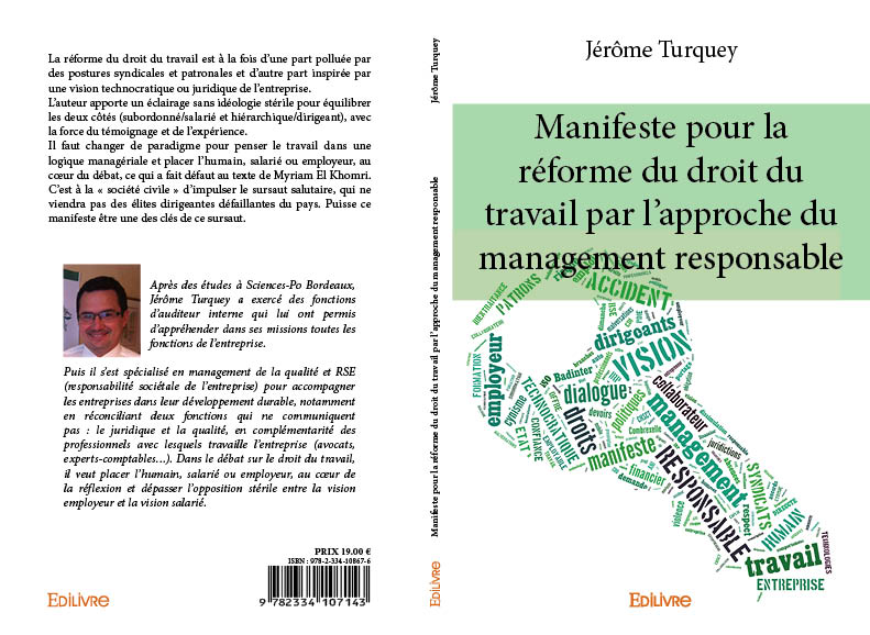Manifeste pour la réforme du droit du travail par l'approche du management responsable - couverture du livre et 4e de couverture