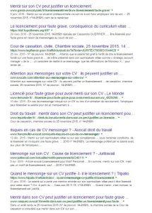 Résultats de recherche Google sur le mensonge dans un CV